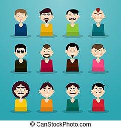 Avatar Set. Men - Users Icons.
