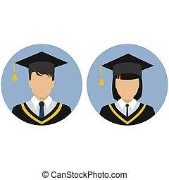 avatar., set., student., graduate., icônes