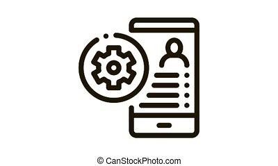 Avatar Settings Icon Animation. black Avatar Settings animated icon on white background