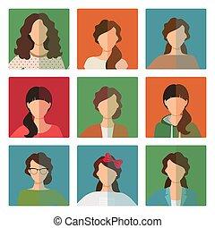 avatar, stijl, vrouwlijk, set, ongedwongen