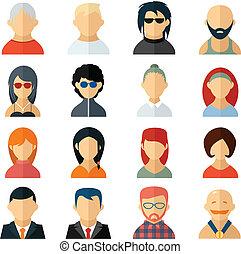 avatar, style, ensemble, utilisateur, icônes, plat