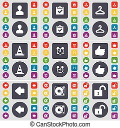 Avatar, Survey, Hanger, Cone, Alarm clock, Like, Arrow left, Gramophone, Lock icon symbol. A large set of flat, colored buttons for your design. Vector