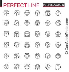 Avatar thin line web icons set. People head avatars outline stroke icons design.