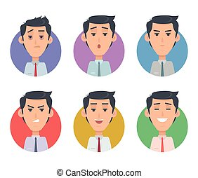 Avatar Userpics Emotions. Variety of Male Feeings