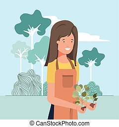 Avatar woman and gardening concept vector design