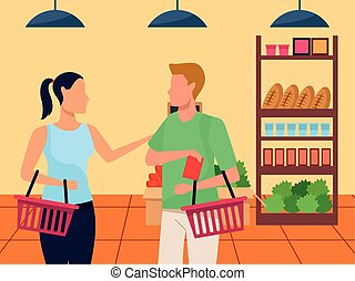avatar woman and man at supermarket stands with groceries, colorful design