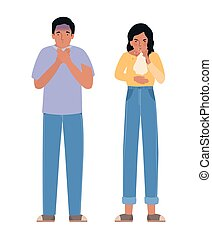 Avatar woman and man with covid 19 virus coughing holding ...