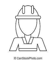 avatar woman construction worker helmet thin line vector...