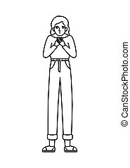 Avatar woman feeling sick dizzy and with nauseous vector design