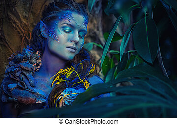 Avatar woman in a magical forest