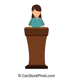 avatar woman in a speech podium wooden