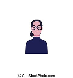 avatar woman person with glasses vector design