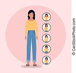 Avatar woman with 2019 ncov virus symptoms vector design