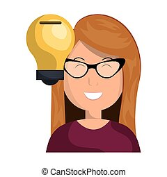 avatar woman with bulb light