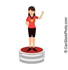 avatar woman with medal on winner podium