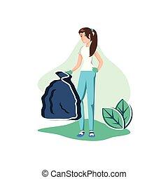 Avatar woman with trash design