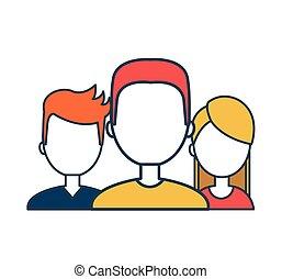 avatares social media group design flat