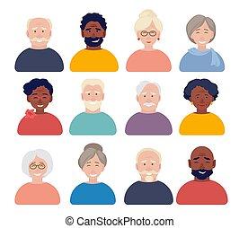 avatars., έγγραφα , ηλικιωμένος , ζωντανή περιγραφή προσώπου , γράμμα , αστυνομική ταυτότητα , άνθρωποι , διαμέρισμα , cv , γριά , αντικρύζω , μικροβιοφορέας , avatars, ή , ιστός