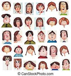 avatars., 水彩画, 上に, ペーパー