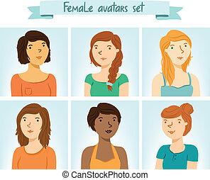 avatars., 6, ensemble, femme, caractères