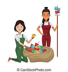 avatars, ambientalista, mujeres, caracteres, reciclaje
