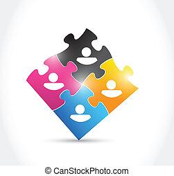 avatars and puzzle pieces illustration design