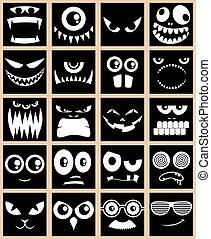 Avatars Black - Set of 20 avatars in black and white.
