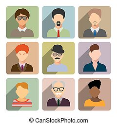 Avatars, business man flat icons set isolated on white background for web and mobile application.