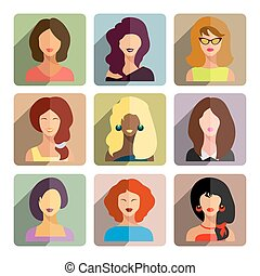 Avatars, business women flat icons set isolated on white background for web and mobile application.