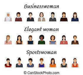 Avatars characters set of different kind women. Business, elegant and sports female icons faces on a white background.