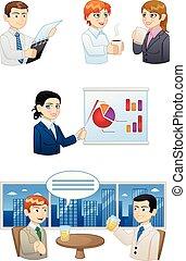 avatars, de, gente, trabajando