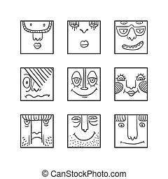 Avatars doodle set