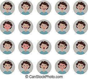 Avatars emotions. Set of facial expressions. Cartoon style emoji icons.