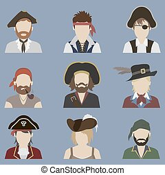 avatars., ensemble, pirate