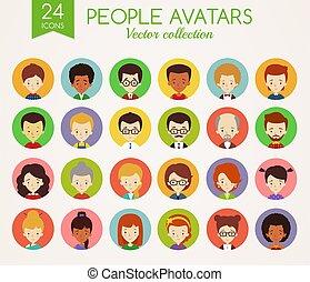 avatars., faces., set, persone, vettore, rotondo