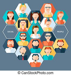 Avatars hexagon concept with social male and female people pixel characters vector illustration