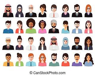 avatars., hommes affaires, femmes affaires