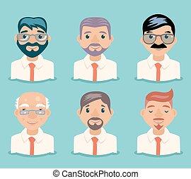 avatars, ilustração, vetorial, desenho, retro, caráteres, homem negócios, caricatura
