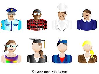 avatars, &, métiers, utilisateur, icônes