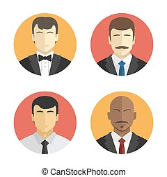 avatars men in suits of different nationalities. Flat design