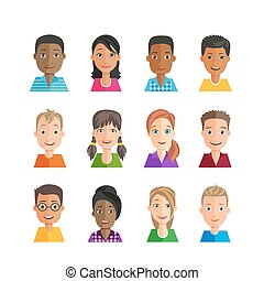 avatars., multiethnic., vettore, set