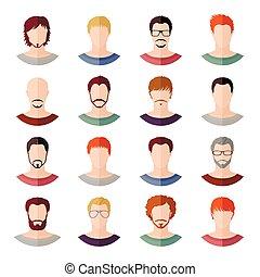 Avatars of men in modern flat design