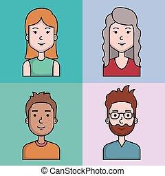 avatars people man and woman portrait set