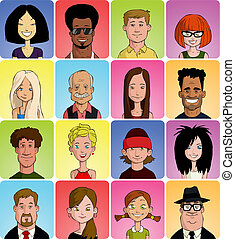 Set of various cartoon faces, vector illustration