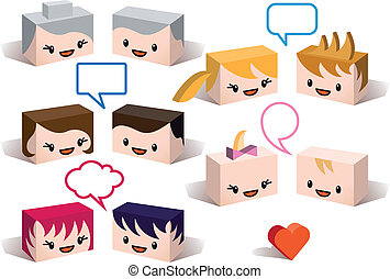 avatars, vettore, famiglia, 3d