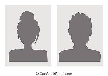 avatars., vettore, maschio, femmina