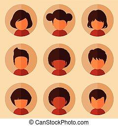 avatars, wektor, dzieciaki