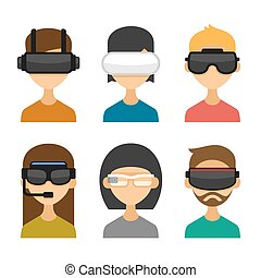 Avatars with Virtual Reality Glasses Icon Set. Flat Style...