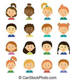 avatars..cartoon, plat, style, characters.