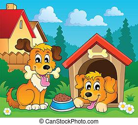 avbild, 3, tema, hund